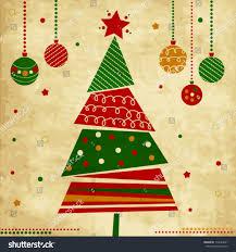 vintage card tree ornaments stock vector 110644931