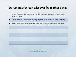Loan Outstanding Letter list of documents for home loan processing