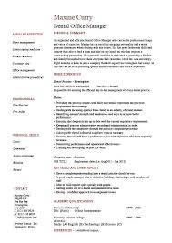resume format administration manager job profiles dental office manager resume exle sle template dentist