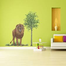 giant lion wall sticker see how you can create jungle themed mural lion jungle animal wall decal sticker