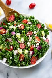 greek kale salad with lemon olive oil dressing gimme delicious