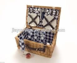 Picnic Basket Set For 2 Willow Picnic Basket 4 Person Outdoor Wicker Hamper Set Plates