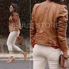 brown leather motorcycle jacket women zip quilted motorcycle faux leather biker jacket baseball
