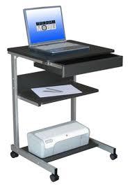 Portable Laptop Desk On Wheels Furniture Gray Polished Metal Portable Laptop Desk With Drawer