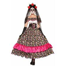 China Doll Halloween Costume Death Porcelain Doll Skull Print Dress Halloween