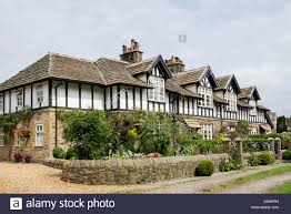 row of 19th century tudor style terraced houses 1882 with