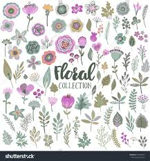 Beautiful Flowers Vector Graphic Set Beautiful Flowers Leaves Stock Vector 516546325