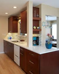 contemporary small galley kitchen with dark cabinets light