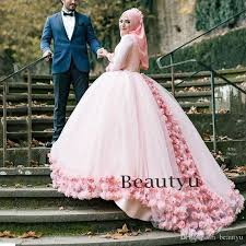 plus size pink wedding dresses 3d floral muslim gown wedding dresses 2017 custom plus size