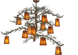 Amber Chandelier Meyda Tiffany 153180 Pine Branch Valley View Country Rust Amber