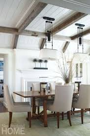Dining Room Ceiling Designs Cottage Dining Room Boasts A Glossy White Coffered Ceiling