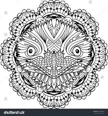 coloring page adults australian animal head stock vector 588409658