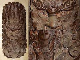 wooden mask for interior decoration large ethnic wall decor