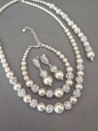 bridal earrings bracelet sets images Pearl jewelry set swarovski 3 piece pearl backdrop necklace jpg