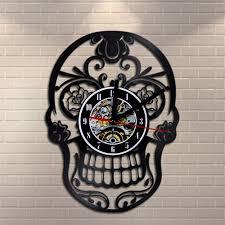 sugar skull vinyl record wall clock retro art home decor mexican