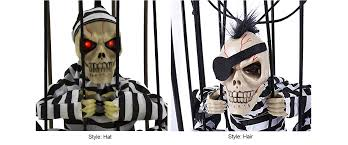halloween motion sensor hanging caged animated jail prisoner