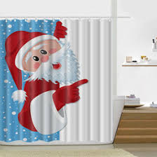 Santa Curtains Discount Christmas Shower Curtains 2017 Christmas Shower