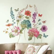 living spaces wall decals stickers roommates lisa audit garden flower giant wall decals
