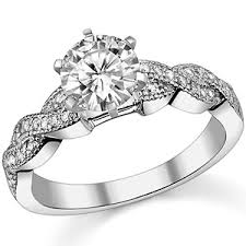 twist engagement ring moissanite diamond twisted milgrain engagement ring
