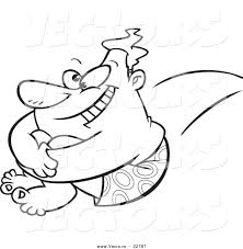 vector of a cartoon big man jumping into a pool coloring page