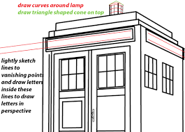 how to draw tardis from doctor who with easy two point perspective
