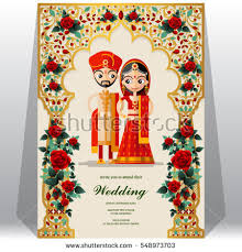 indian wedding card template indian wedding invitation card templates gold stock vector