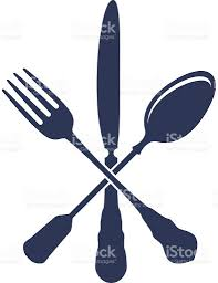 illustration of fork spoon and knife in a cross over white stock
