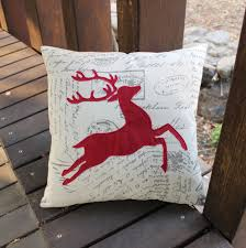 vezo home embroidered red deer linen cotton sofa cushions cover