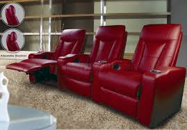 Theater Sofa Recliner Leatherette Home Theater Recliners W Adjustable Headrests