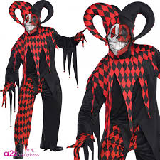 Joker Halloween Costume Kids Mens Boys Krazed Jester Joker Harlequin Halloween Fancy Dress