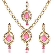 light pink necklace images Buy antique light pink kundan like work indian pakistani ethnic jpg