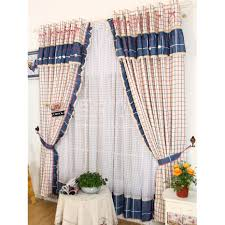 plaid pattern navy and red country curtains