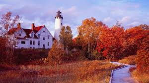 lighthouses autumn lighthouse maple sky walk fall trees michigan