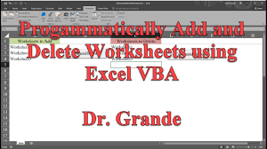 programmatically add and delete worksheets using excel vba youtube