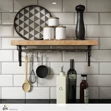 a classic industrial look utilizing white metro wall tiles and a