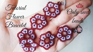 diy beaded flower bracelet images Beaded flower bracelet only seed beads tutorial jpg