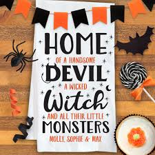 personalized home of halloween kitchen towel