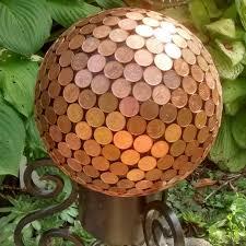 copper pennies garden sphere yard ornament by theglassmunkey