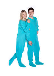 jersey knit footed pajamas in turquoise big onesie