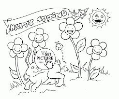 happy animals and plants spring coloring page for kids seasons