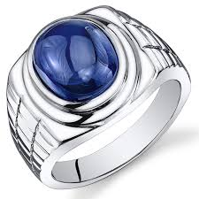 blue man rings images Mens 8 00 carats created sapphire ring sterling silver rhodium jpg