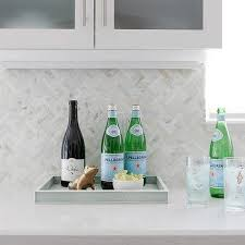 Cream Mosaic Marble Herringbone Tile Backsplash Transitional - Herringbone tile backsplash