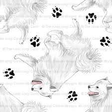 american eskimo dog new mexico trotting american eskimo dog and paw prints white fabric