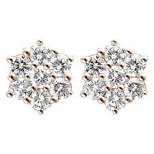 diamond earring studs 0 46ct f i1 diamond cluster stud earrings with hexagon design