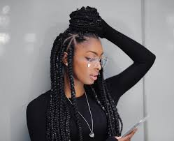 grey and purple combined together style box breads braided hairstyle ideas inspiration for black women hairstyle guru