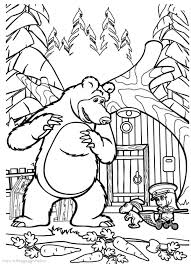 masha bear coloring pages getcoloringpages