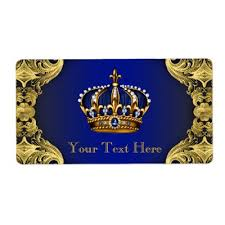 royal blue and gold prince crown wine bottle label zazzle