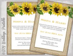 sunflower wedding invitations country wedding invitation template rustic