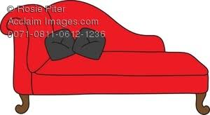 Chaise Lounge Red Free Clipart Illustration Of A Red Chaise Lounge With Black Pillows