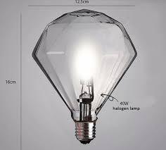 large e27 g9 halogen diamond light bulb edison style light
